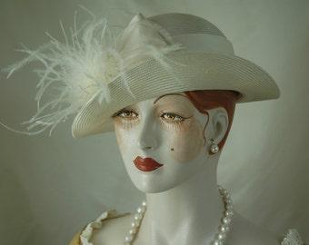 Ivory Straw Hat, Great Gatsby Hat, 1920s Hat, Bridal Hat, Wedding Hat