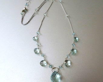 Aquamarine Solid 14k White Gold Necklace