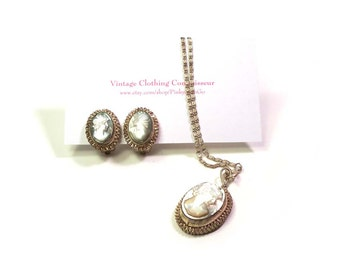 Antique Classic Carved Abalone Shell Cameo Set Earrings & Pendant on Chain Set in Ornate Fine Silver Bezel