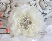 New: Reilly Collection, 2 pcs IVORY Soft Chiffon Ruffled Fabric Flowers w/ Rhinestones Pearls - Layered Bouquet fabric flowers