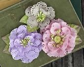 NEW: Prima Tiara - Sugarplum 567170 Eyelet cotton fabric flowers with Stamen on center.