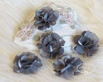NEW: 5 pcs 24mm CHARCOAL Grey Teeny Tiny Small Puffy Satin Flowers. applique hair bow, hair accessories