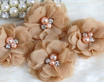 NEW: 4 pcs Aubrey MOCHA BroWn - Soft Chiffon with pearls and rhinestones Mesh Layered Small Fabric Flowers, Hair accessories