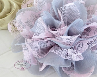 "NEW : 2 pieces 3.5"" Shabby Chic Frayed Chiffon Mesh and Lace Rose Fabric Flower - Grey w/ Baby Pink lace"