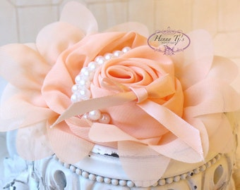 1 pc Baby PEACH / Apricot Chiffon Flower With Pearl for headbands corsage shoes accessory LIMITED QUANTITIES