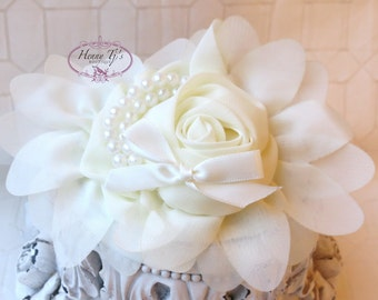 1 pc IVORY Chiffon Flower With Pearl for headbands corsage shoes accessory LIMITED QUANTITIES