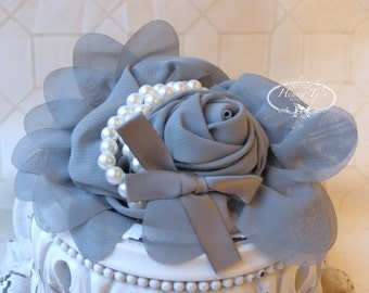 1 pc Charcoal GREY Chiffon Flower With Pearl for headbands corsage shoes accessory LIMITED QUANTITIES