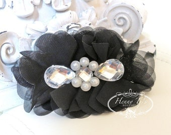 New: Reign Collection 2 pcs Silk Fabric Flowers with Rhinestones - BLACK floral embellishments Layered Bouquet fabric flowers