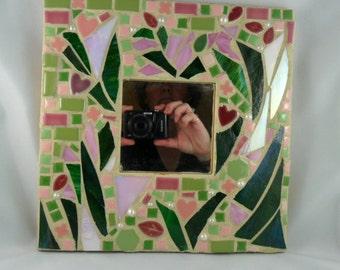 Mosaic mirror - mosaic home decor - mosaic art - mosaic gift - glass gift - glass art gift - mosaic art gift - glass art home decor - glass