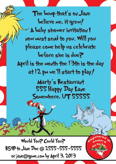 25 100 dr seuss baby shower invitation customized printed