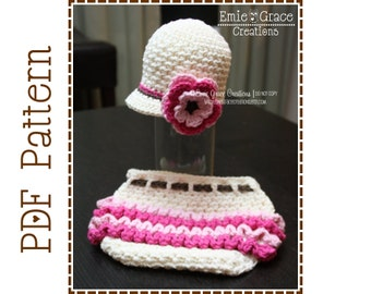 Newsboy Hat and Ruffle Diaper Cover Crochet Patterns, AVERY and KENNEDY - pdf 228, 710