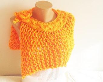 Spring wedding accessories orange hand knit capelet shawl bridesmaids gift orange wedding orange shawl