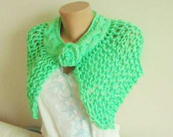Spring wedding accessories spring green hand knit capelet shawl bridesmaids gift green shawl