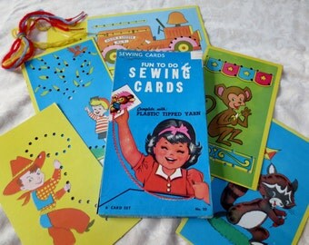 Childrens Sewing Card Set, Vintage Built Rite, 6 cards