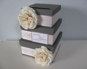 Victorian Wedding Card Box 3 tiered Card Box Gray and Pink Wedding Roses Personalized Wedding Gift Card Box Reception Card Box Handmade