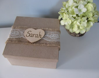 SALE Rustic Personalized Bridesmaid Gift Box Jewelry Keepsake Gift Box Chalkboard or Wood Tag Bride Ring Box You Personalize