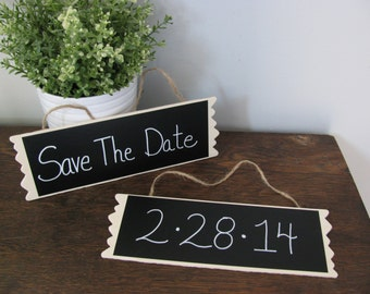 Wedding Chalkboard Hanging Sign Set of 2 Engagement Photo Props, Reserved Chair Signs, Save the Date Signs, Personalize for FREE