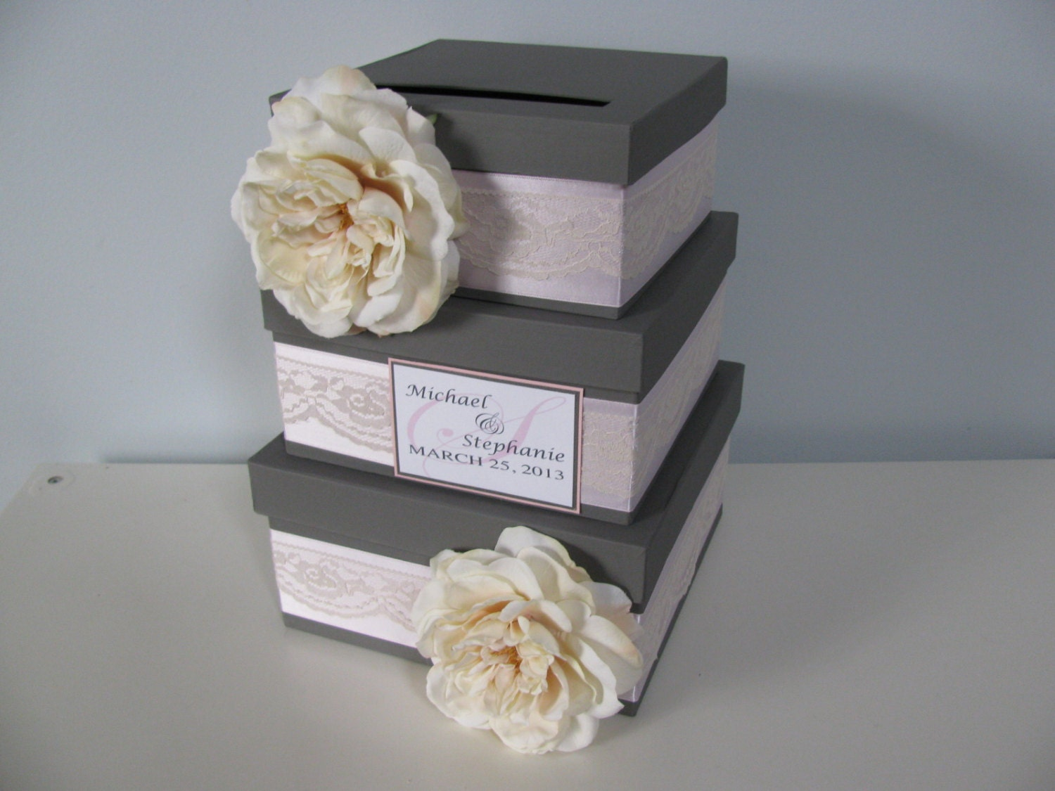3 Tier Wedding Gift Box : Victorian Wedding Card Box 3 tiered Card Box Gray and Pink