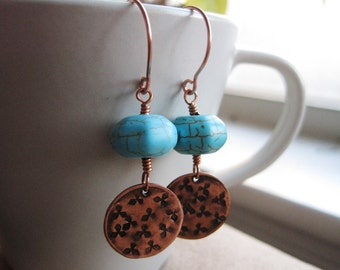 Turquoise Earrings and Hammered Copper Charms, Turquoise and Copper Earrings, Copper Boho Earrings, Copper Anniversary