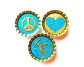 Bottle Cap Magnets - Peace Love Gymnastics - Set of 3