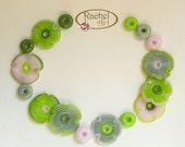 Green and Pink Lampwork Flowers Glass Beads, FREE SHIPPING, Handmade Flowers and Donuts Beads - Rachelcartglass