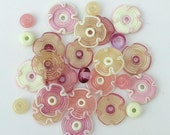 Pink and Cream Lampwork Flower Beads, FREE SHIPPING, Delicate Set of Handmade Glass Disc  Beads - Rachelcartglass