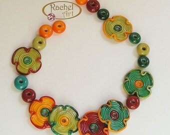 Multicolor Lampwork Glass Beads, FREE SHIPPING, Colorful Handmade Flowers and Donuts Beads - Rachelcartglass