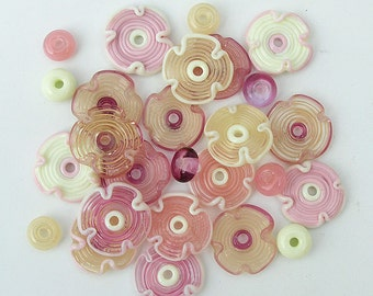 Pink and Cream Lampwork Flowers Beads, FREE SHIPPING, Set of Handmade Glass Disc  Beads and Spacers - Rachelcartglass