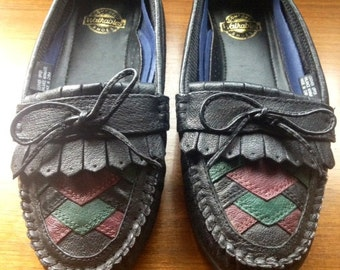 Vintage 80's Walkables Patchwork Fringe Loafers, 8.5 W