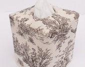 Brown toile reversible tissue box cover