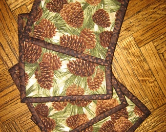 "Fabric Coasters, Pine Cones on Cream, Quilted 5x5"" 100% cotton fabrics"