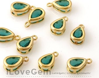 NP-872 Gold plated, Glass, Emerald Green, mini drop, dangle, 4pcs