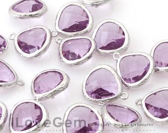 SALE/ 10pcs / G0130 Rhodium plated, Lavender, Glass fancy rosecut 13mm