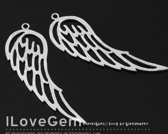 NP-1431 Matt Rhodium plated, Wing, Pendant, 2pcs