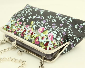 Cotton sateen bridal clutch/ evening purse/ multicolour spring flowers on grey silver frame with chain