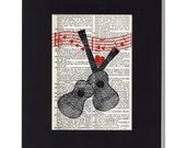 Ukulele love vintage instrumeny dictionary page Ukulele print Uke Lovers with music and hearts Upcycled Artwork musical valentine gift
