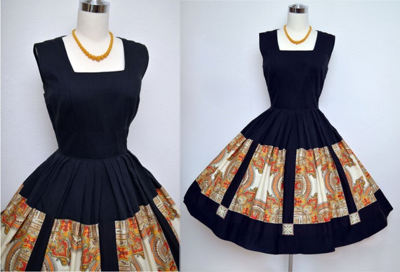 Vintage 50s Dress // 1950s Cotton Summer Dress // Black and