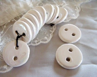 Ceramic Buttons Ceramic Beads White Iridescent 26,5mm - 2 pieces