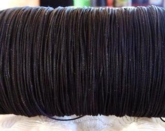 Black Nylon Thread Cord for Macrame, Shamballa, Braided cord 0,7mm- 10m/33feet approx.(1 piece)