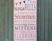 Winter Fun with Bunting Typography Word Art Sign - Limited Edition