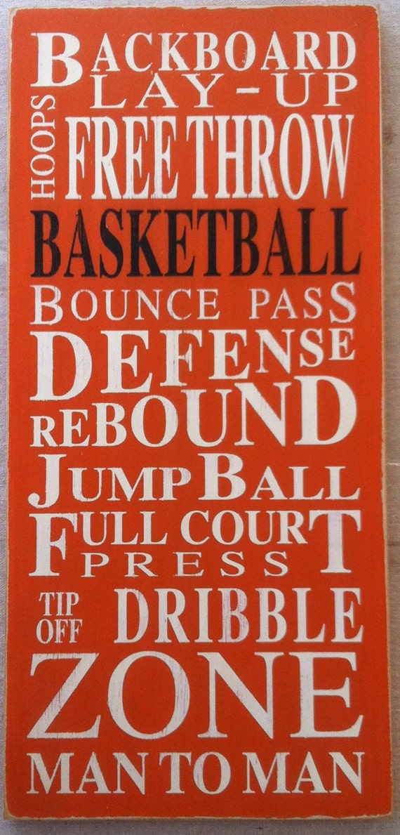 Basketball Typography Word Art in OrangeFREE Shipping