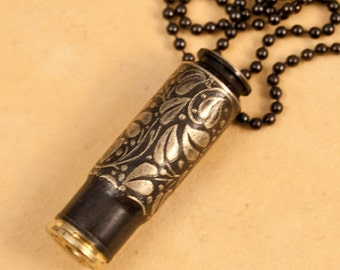 """Time capsule necklace - """"Ivy"""" etched bullet casing pendant - bullet jewelry"""