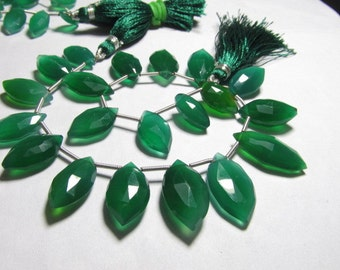 8 Inches - AAA - High Quality SO Gorgeous EMERALD Green Onyx - Faceted Marquise Briolett - huge size - 9x15 - 12x20 mm