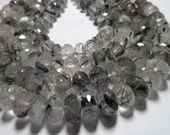 8 inches - AAAA-  High Quality Gorgeous - Black Rutilated Quartz Super Sparkle Micro Faceted Rondell Beads Huge Size - 8 mm approx