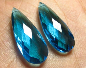 2 Matched Pair - AAAA - High Quality Gorgeous APATITE Peacock Blue Colour QUARTZ Pear Briolett Super Sparkle Huge size - 10x26 mm - drilled