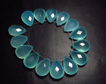 5 Matching Pair 13x18 mm - AAAA - High Quality Gorgeous AQUA Colour Chalcedony - Faceted Pear  Briolett