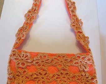 Coral Handbag - quilted with crocheted overlay, magnetic snap Summer purse