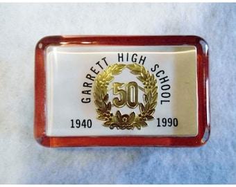 GARRETT HIGH SCHOOL Old Glass Paper Weight Desk Accessory
