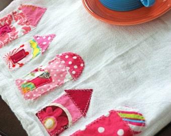 Little Pink Houses Appliqued Flour Sack Tea Towel