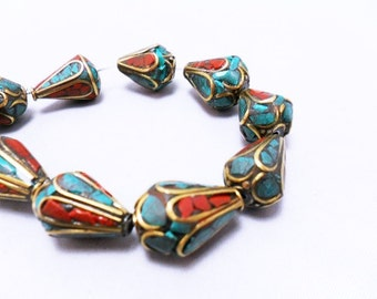 Brass Ethnic Tibetan Metal Bead, Inlaid turquoise and coral chips, capsule shape bead, round bottom, 17x10mm  per pair